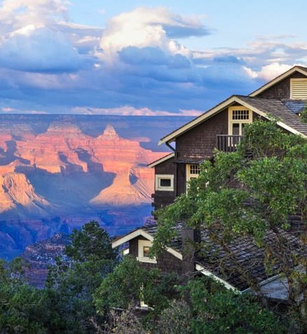 Grand Canyon and lodge on Sedona cycling trip