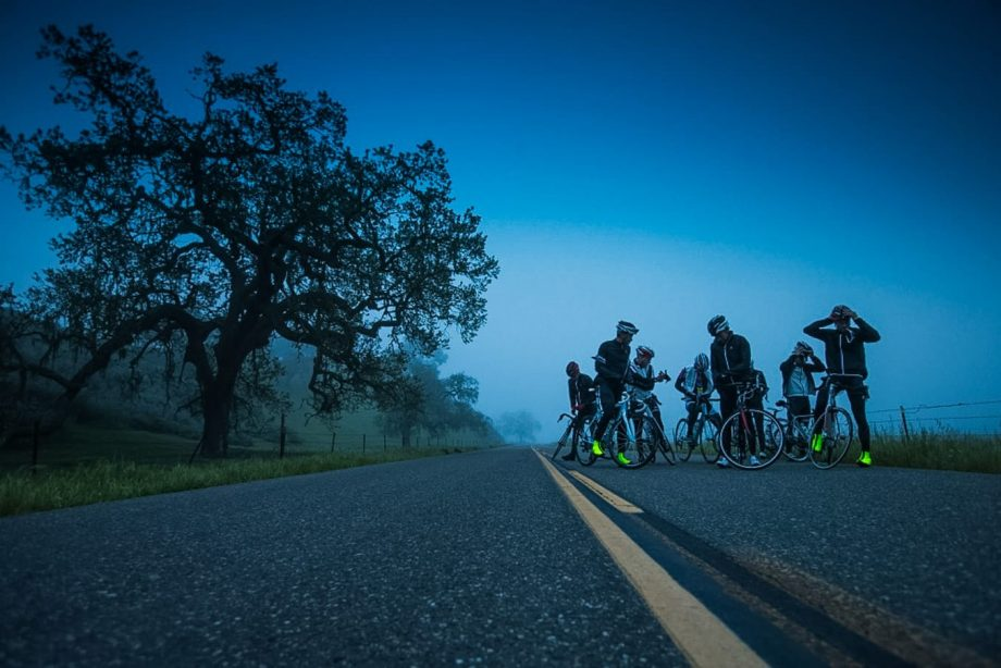 Bike tour group on Sonoma road cycling tour at night