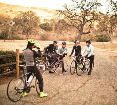 Group poses for photo on Sonoma road bike tour