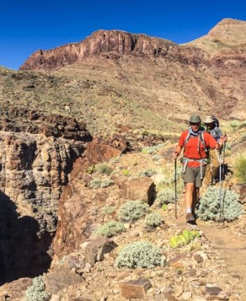 Hikers descend trail on Grand Canyon trip