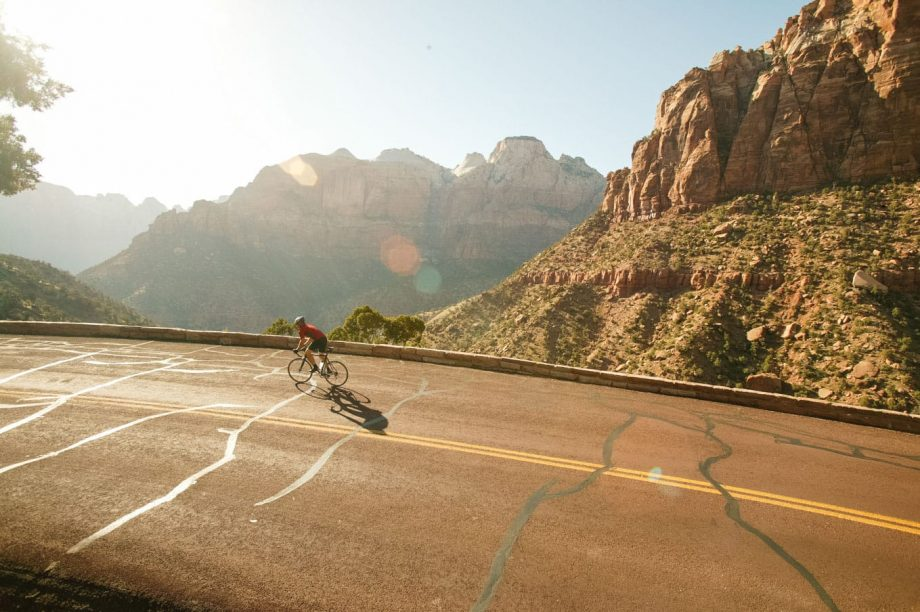 Cyclist rides southern Utah on road biking tour