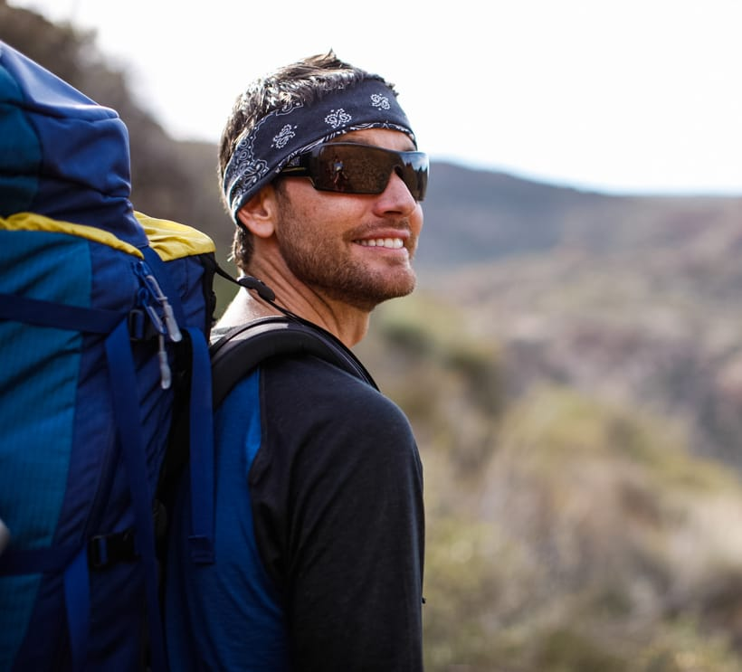 Close up of hiker on Superstition Mountains backpacking trip