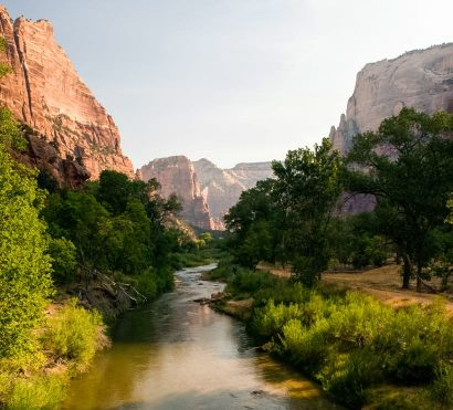 Zion National Park valley river seen on hiking trip