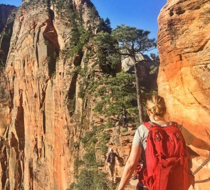 Hikers use railing on Zion National Park weekend trip