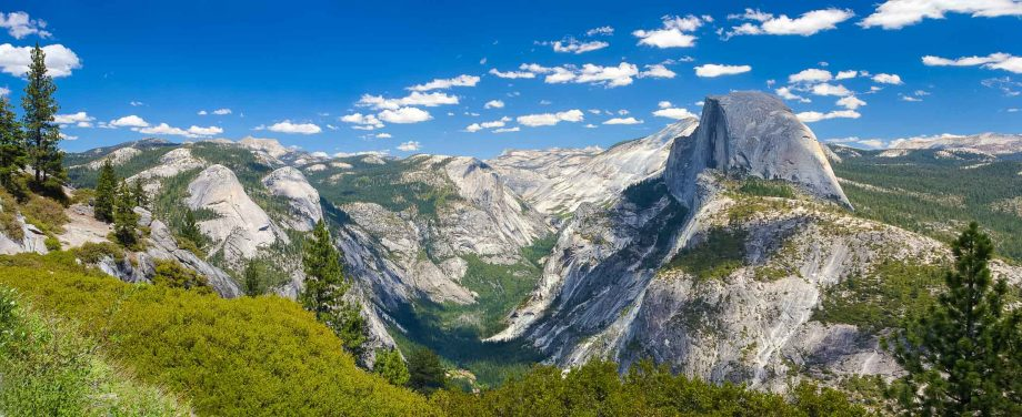 Wide view of Yosemite National Park Half Dome