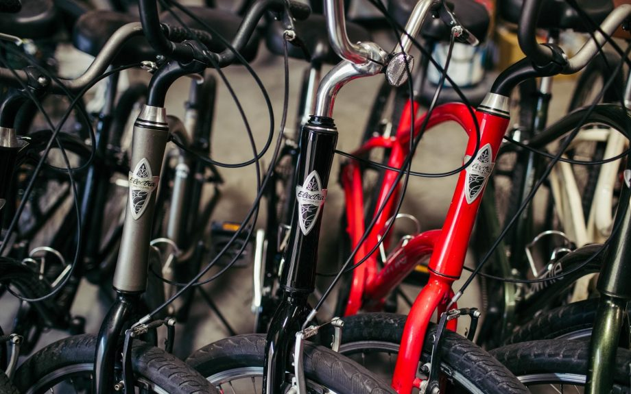 Close up of Electra Townie bike frames
