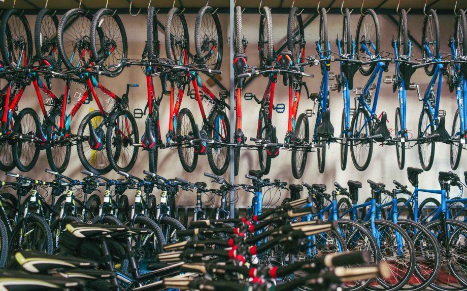 Rack of Giant mountain bikes at Scottsdale Rental Shop