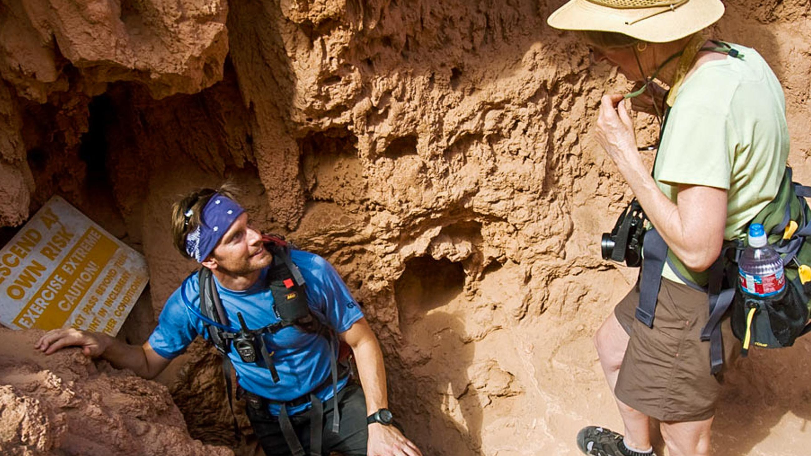 Hikers prepare to descend into caves on Havasu Falls trip
