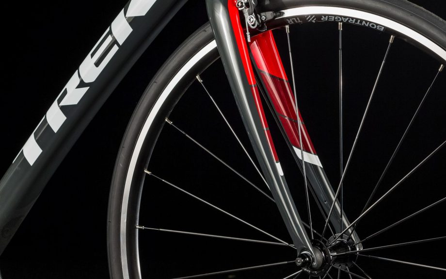 Close up of Trek Domane SL5 bike wheel
