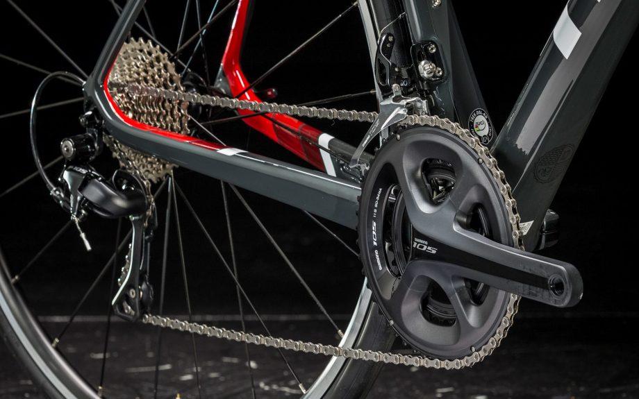 Close up of Trek Domane SL5 mountain bike gears