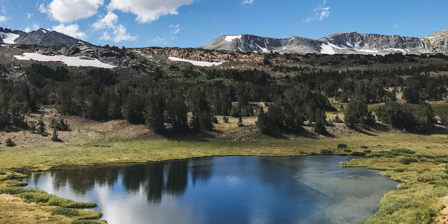 View of Yosemite National Park lake landscape.