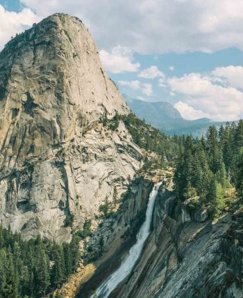 Overlook view of Yosemite National Park waterfall landscape