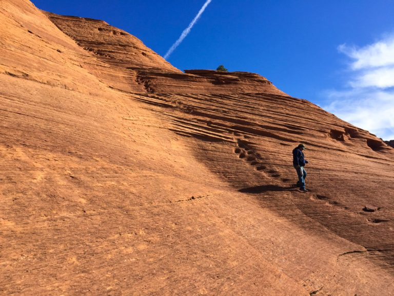 Hiker in Canyon de Chelly.
