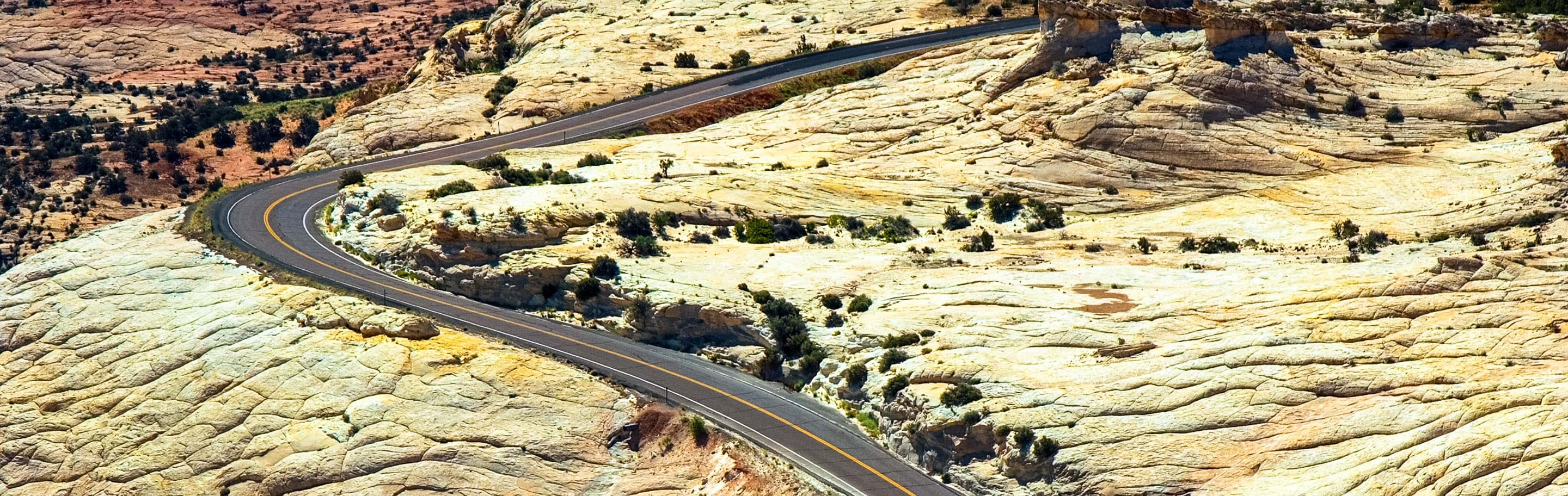 Aerial view of southern Utah desert biking road