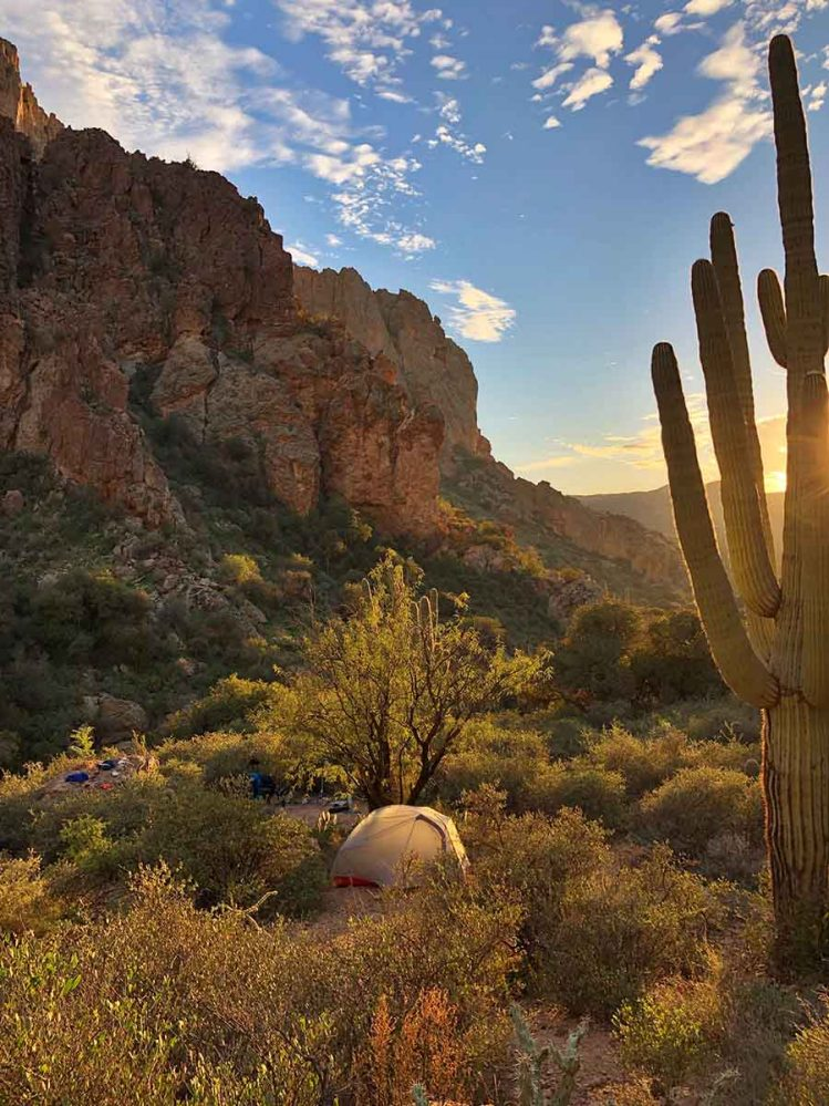Superstition Wilderness Backpacking sunset