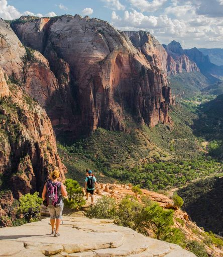hiking angels landing on a guided zion hiking trip with aoa