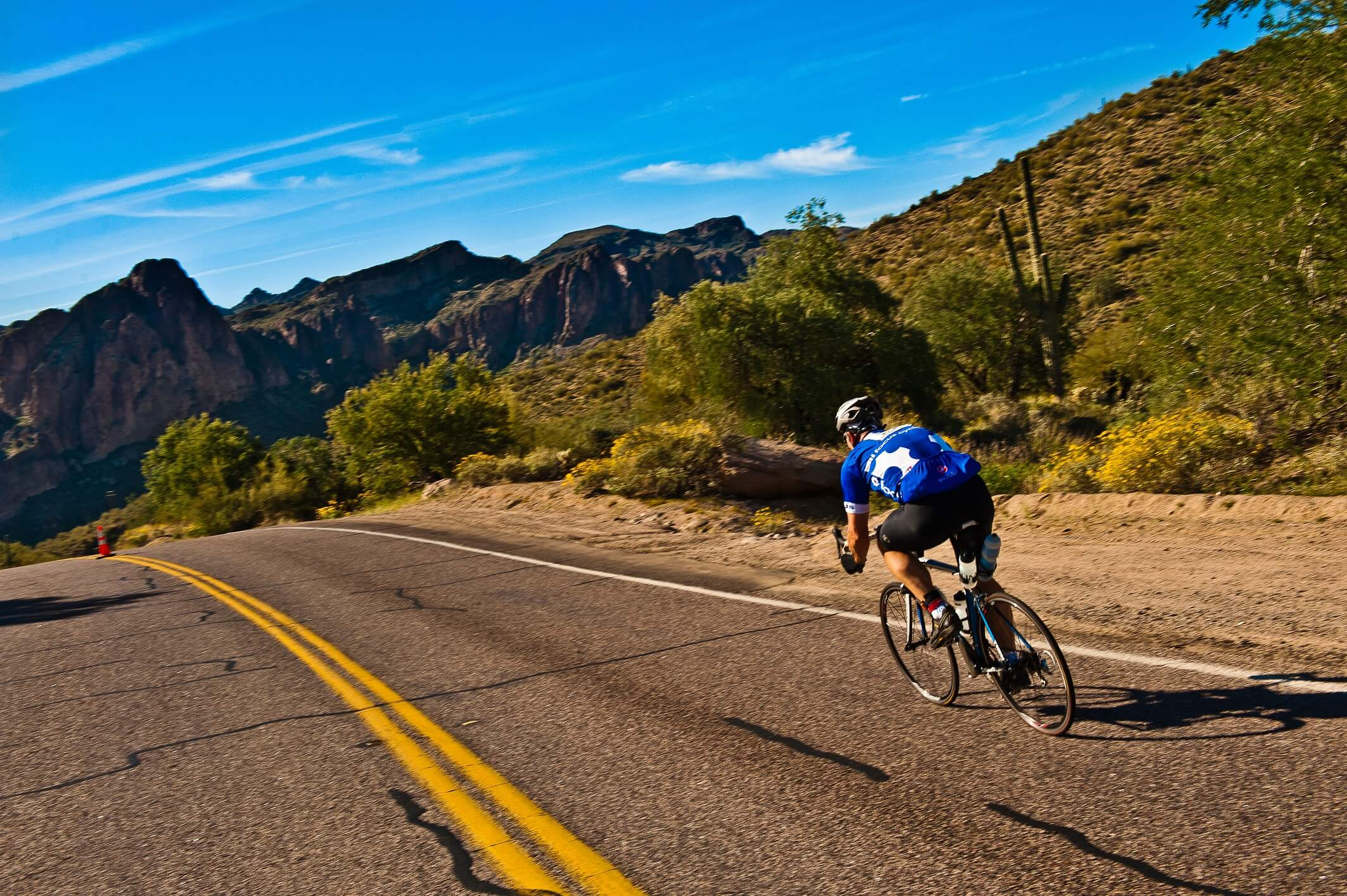 road cycling the bush highway in Mesa, AZ