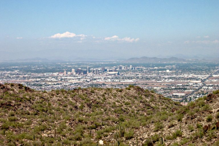 views of downtown phoenix from south mountain
