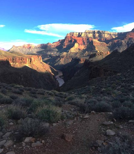 views of the colorado river on a grand canyon backpacking trip