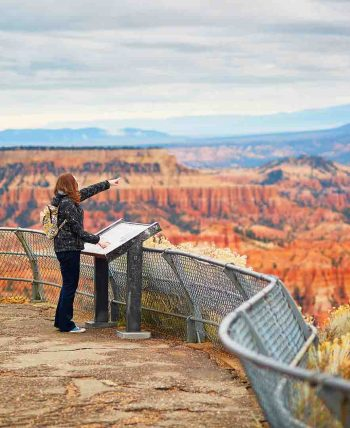 Tourist enjoying scenic view in Bryce Canyon National Park