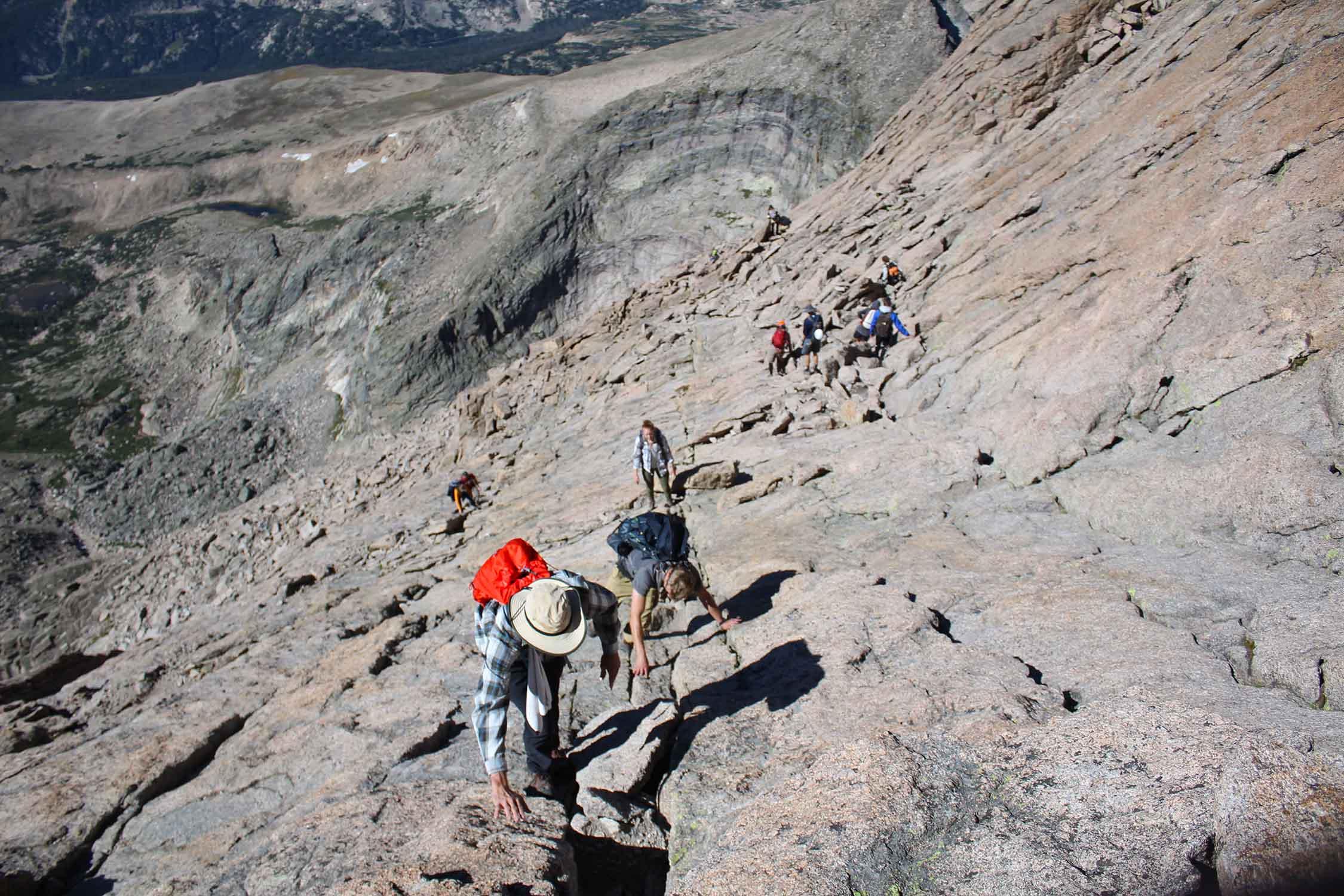 Hiking up Longs Peak in Rocky Mountain National Park.