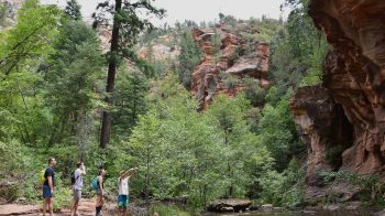 Hikers at West Fork Oak Creek Canyon