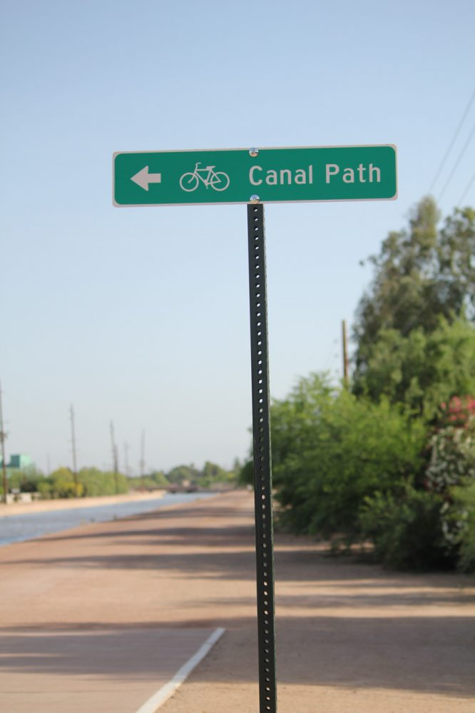 Greenbelt path - canal path signage Scottsdale Arizona