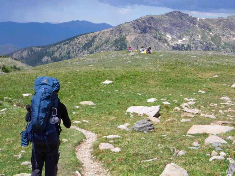 Four backpackers in Rocky Mountain National Park.