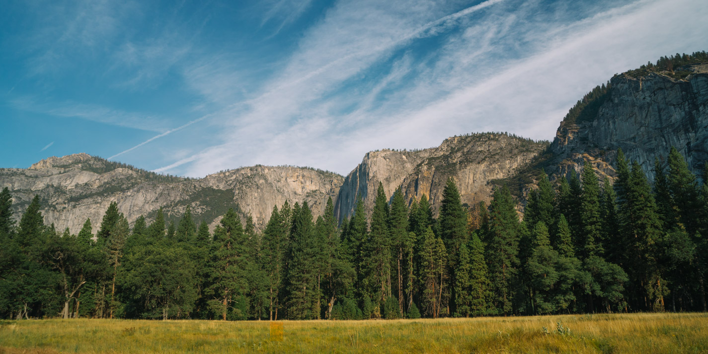 View of tree line and mountains at Yosemite National Park.