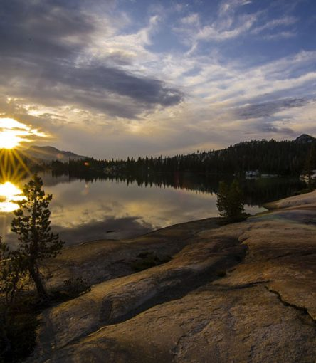 View of Cathedral Lake in Yosemite National Park