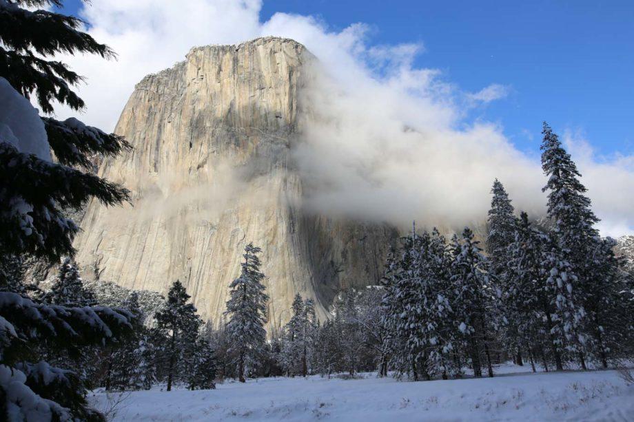 El Capitan Yosemite National Park view in snow