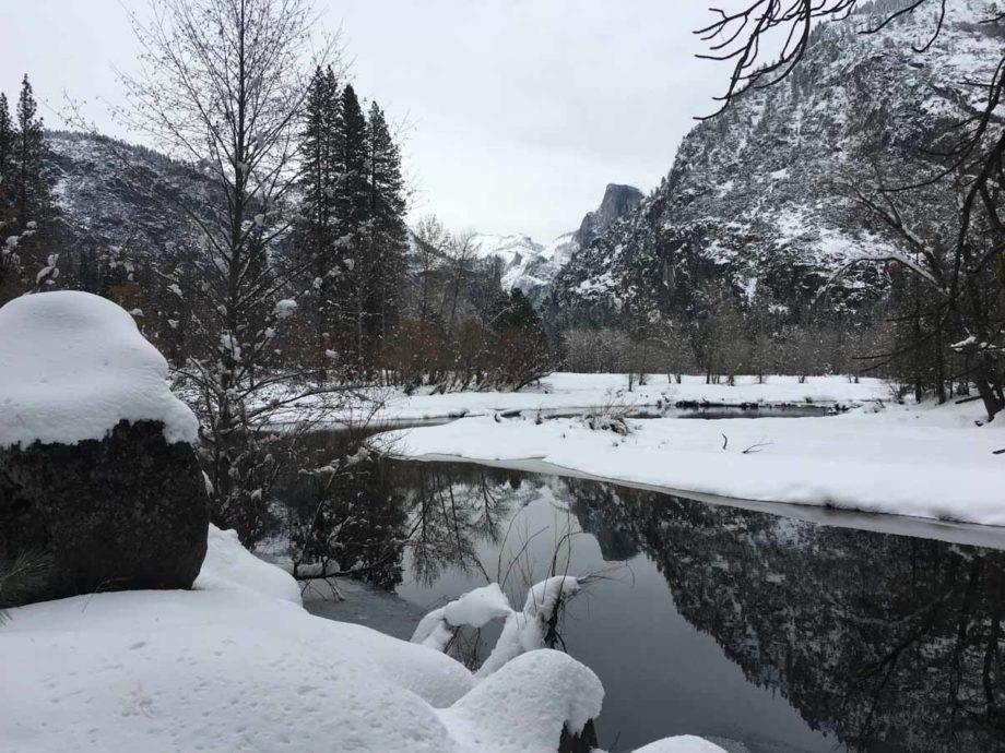 snowy lake in Yosemite National Park