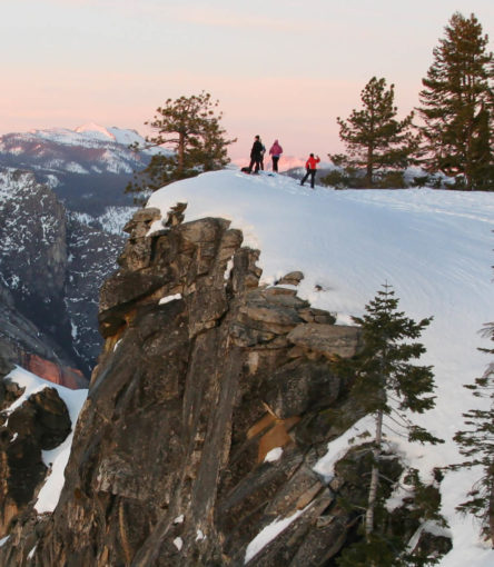 Yosemite National Park- people hiking in the snow