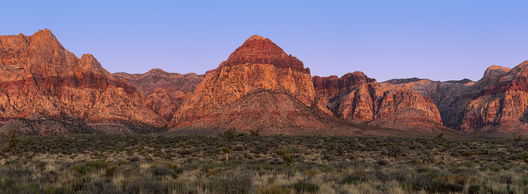 Sandstone cliffs at Sunset in the Mojave Desert