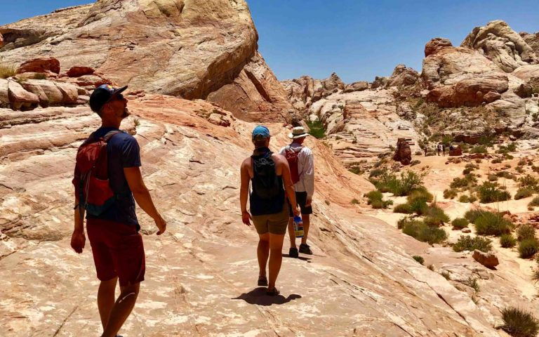 Hikers explore Valley of Fire state park near Las Vegas, Nevada