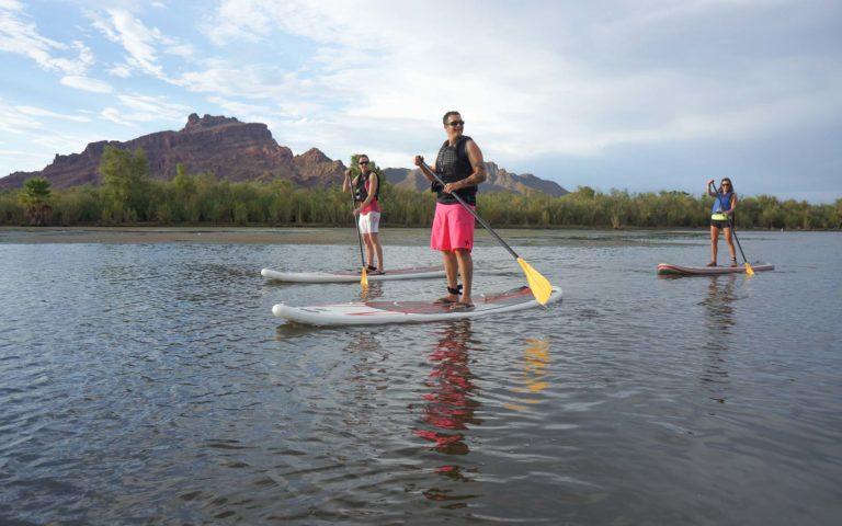 three kayakers on the NRS Baron 6 kayak rental