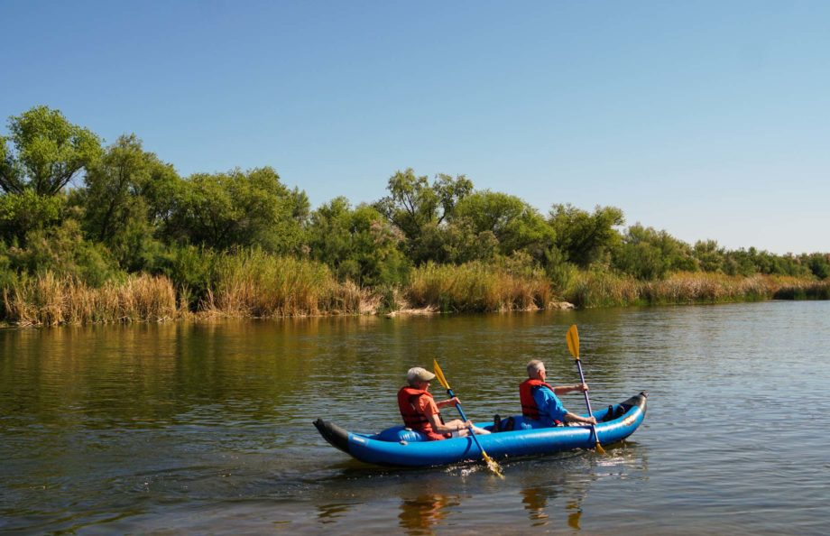 two people kayaking