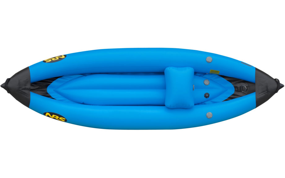 Top view of a blue inflatable single kayak