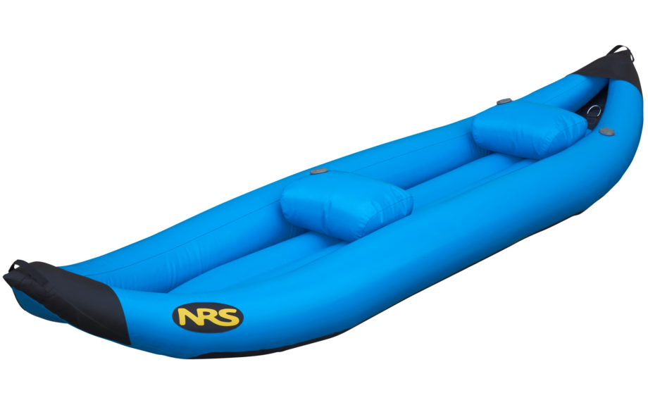 blue inflatable two person kayak