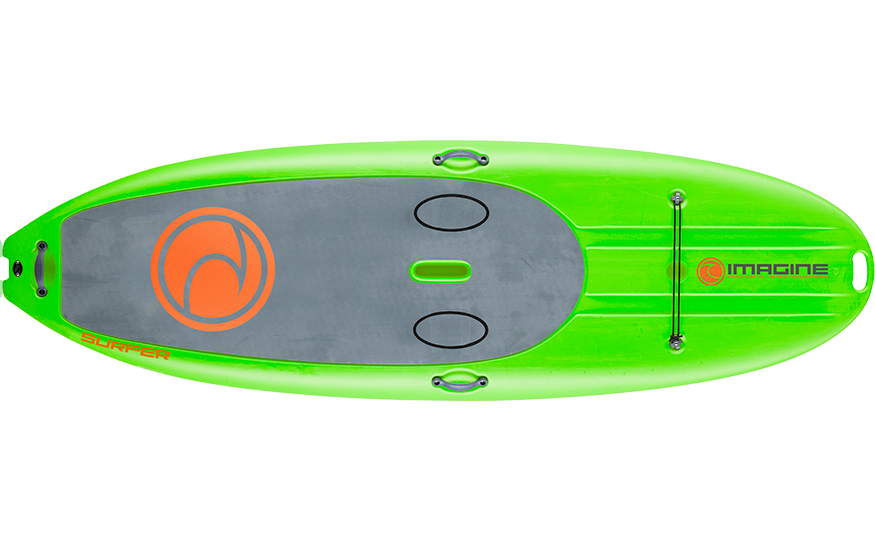 top view of green stand up paddleboard on white background