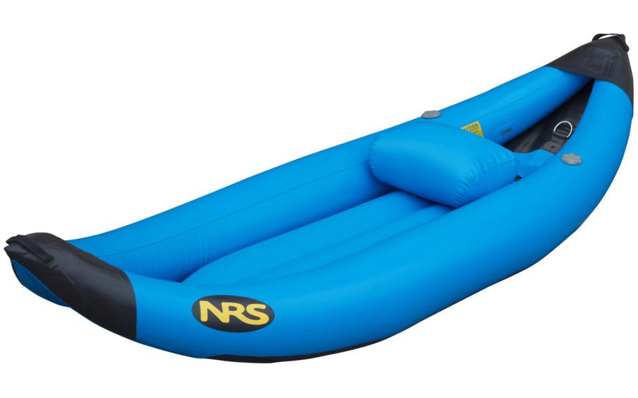 blue inflatable single kayak on white background