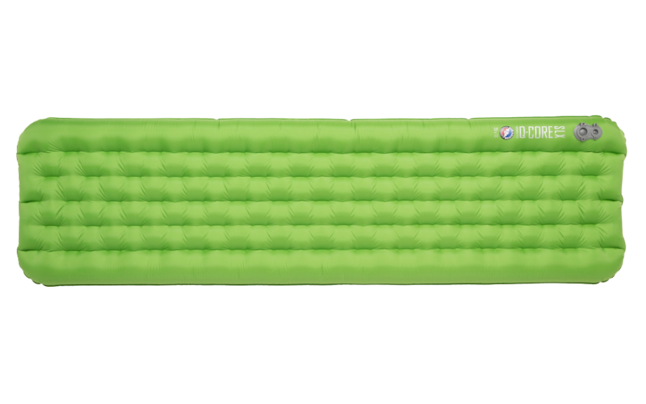 neon green inflatable sleeping pad on white background