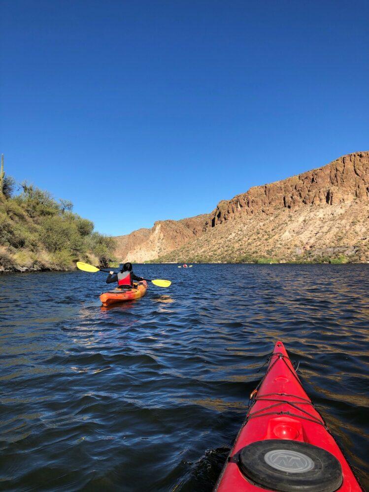 kayaker paddling through Canyon Lake in Arizona