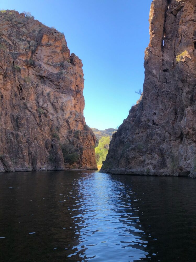 landscape image of a narrow passage on Canyon Lake in Arizona