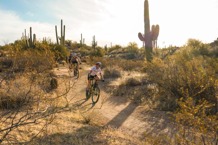 two mountain bikers on trail in Scottsdale, Arizona