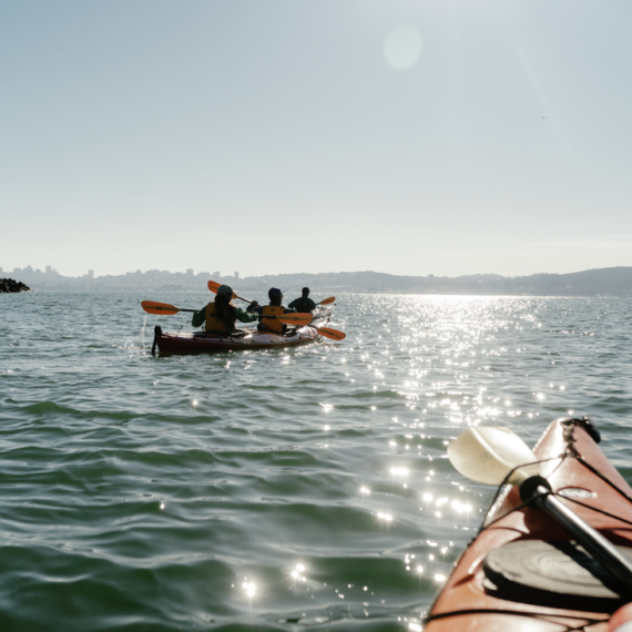 Two groups of kayakers paddle on the open water in San Francisco