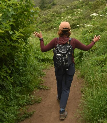 Hiker passes between two bushes along hiking trail in Point Reyes National Seashore