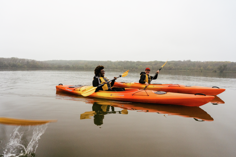 Two kayakers at Point Reyes